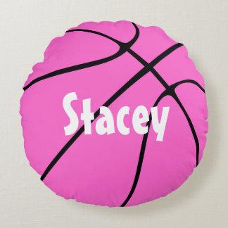 Almohada de tiro redonda del baloncesto rosado cojín redondo