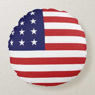 Almohada de tiro redonda patriótica de la bandera cojín redondo