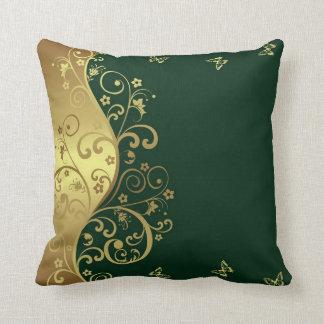 Almohada de tiro--Remolinos verde oscuro y del oro
