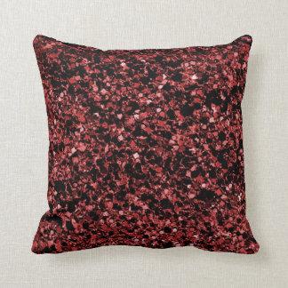 Almohada de tiro roja de la textura del brillo