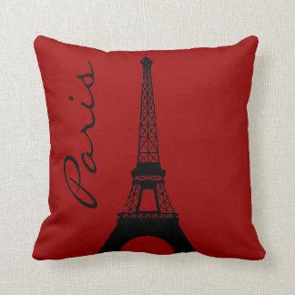 Almohada de tiro roja de París de la torre Eiffel Cojín Decorativo