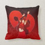 Almohada de tiro roja del arte pop del bailarín de