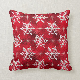 Almohada de tiro roja del copo de nieve del día de cojín decorativo