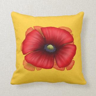 Almohada de tiro roja del racimo de la amapola -
