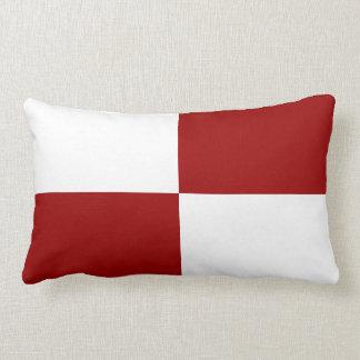Almohada de tiro roja y blanca de los rectángulos