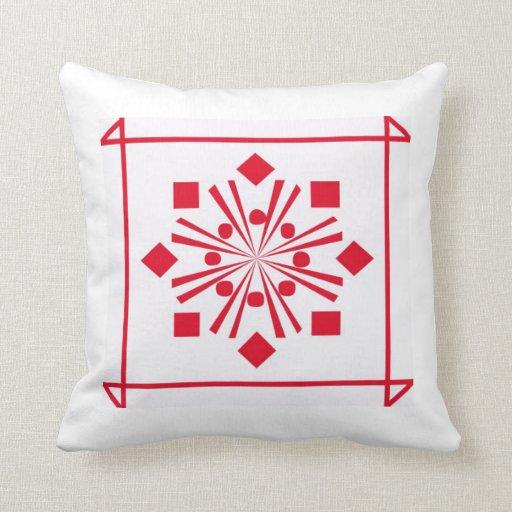 Almohada de tiro roja y blanca decorativa