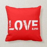 Almohada de tiro roja y blanca del amor