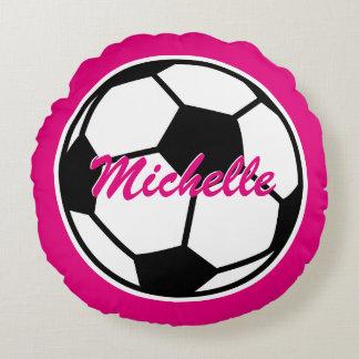 Almohada de tiro rosada del balón de fútbol para cojín redondo