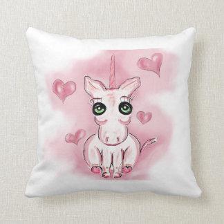 Almohada de tiro rosada del unicornio