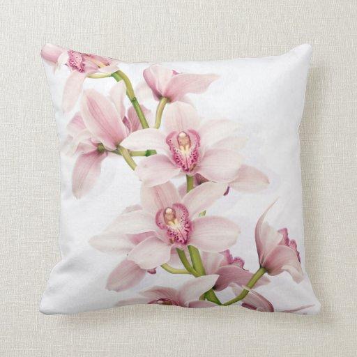 Almohada de tiro rosada elegante de la orquídea de