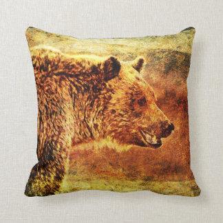 Almohada de tiro rústica del oso grizzly del