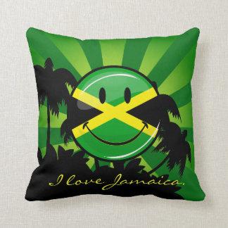 Almohada de tiro sonriente de Jamaica con su texto
