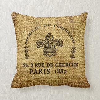 Almohada de tiro texturizada arpillera con el logo