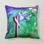 Almohada de tiro verde cruzada santa de la púrpura
