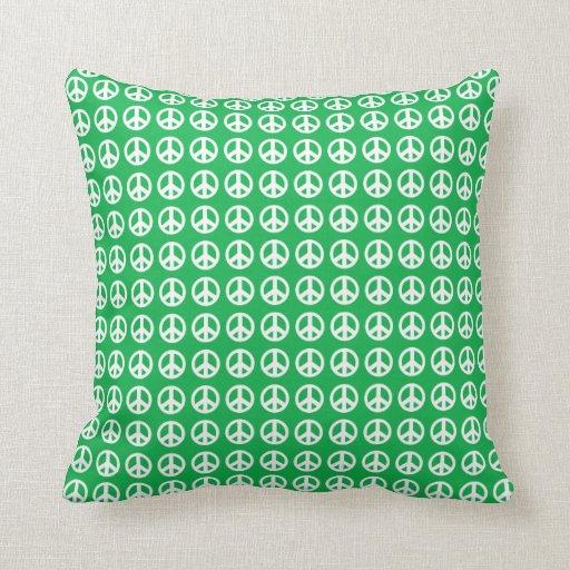 Almohada de tiro verde del signo de la paz