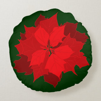 Almohada de tiro verde roja del navidad moderno de cojín redondo