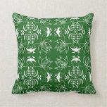 Almohada de tiro verde y blanca del diseño