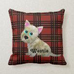 Almohada de Westie del tartán