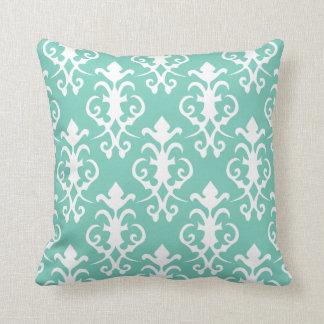 Almohada decorativa del damasco de la turquesa