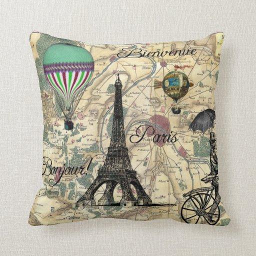 Almohada decorativa del mapa del vintage de Bonjou