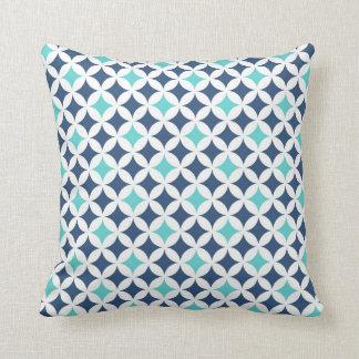Almohada decorativa del modelo geométrico azul del