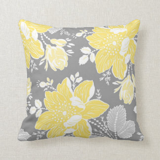 Almohada decorativa floral amarilla del blanco gri