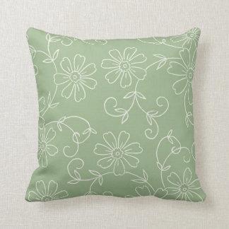 Almohada decorativa floral del sabio y de la crema