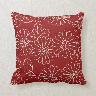 Almohada decorativa floral roja y poner crema cojín decorativo