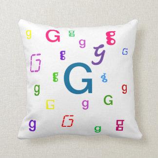 Almohada decorativa G de la letra del alfabeto