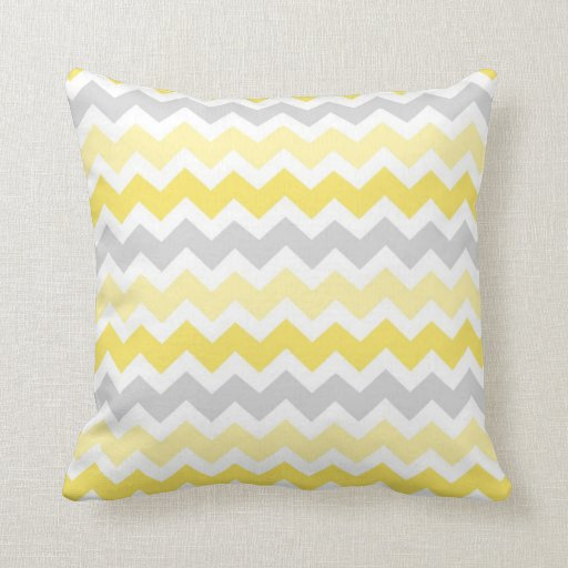 Almohada decorativa gris de Chevron del limón