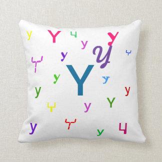 Almohada decorativa Y de la letra del alfabeto