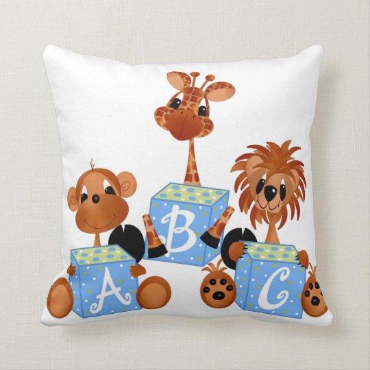 Almohada del ABC de los animales de la selva del Cojín Decorativo