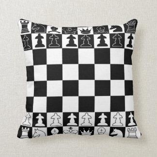 Almohada del ajedrez en blanco y negro cojín decorativo