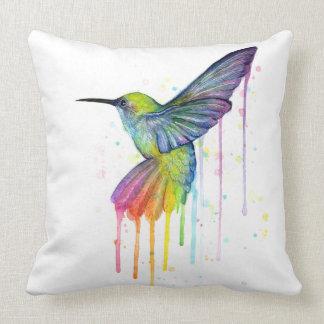 Almohada del arte de la acuarela del colibrí