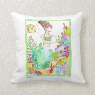 Almohada del arte de la sirena que cultiva un huer