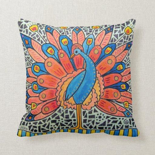 Almohada del arte del pavo real