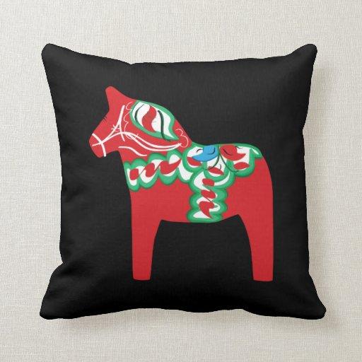 Almohada del caballo de Dala en negro