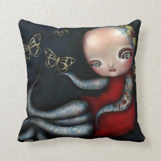 Almohada del chica del tatuaje del pulpo de Jinxi Cojín Decorativo