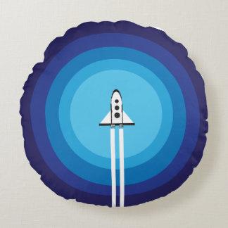 Almohada del cohete de espacio - doble azul del cojín redondo