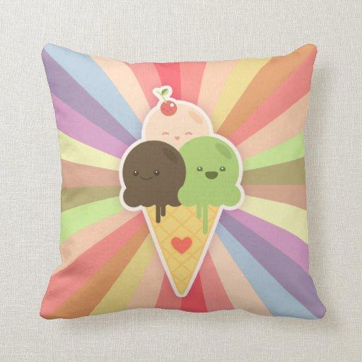 Almohada del cono de helado de Kawaii