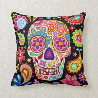 Almohada del cráneo del azúcar - día colorido del cojín decorativo