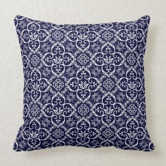 Almohada del damasco de los azules marinos y del cojín decorativo