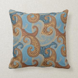 Almohada del damasco de Paisley - azul/bronce - 1