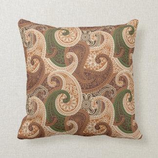 Almohada del damasco de Paisley - chocolate/verde