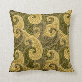 Almohada del damasco de Paisley - oro/verde - 1