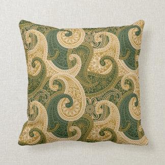 Almohada del damasco de Paisley - oro/verde - 2