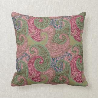 Almohada del damasco de Paisley - rosa/verde - 1