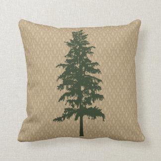 Almohada del damasco del árbol de pino cojín decorativo