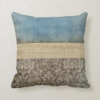 Almohada del damasco y de la arpillera cojín decorativo