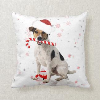 Almohada del día de fiesta del navidad del perro